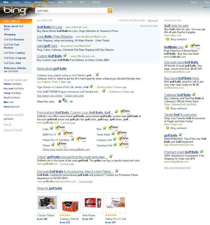 Bing Search Results showing Symantec Safe Site in action